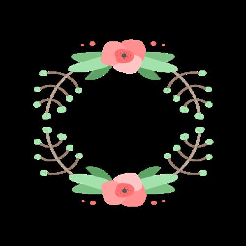 手绘花朵圆形边框