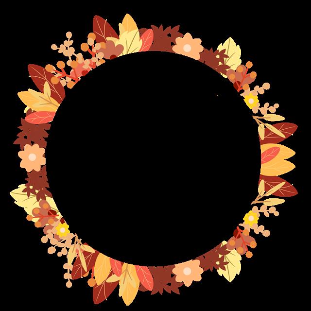 唯美秋季花环矢量图