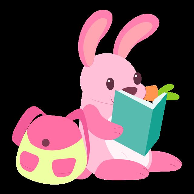 上学看书的小兔子