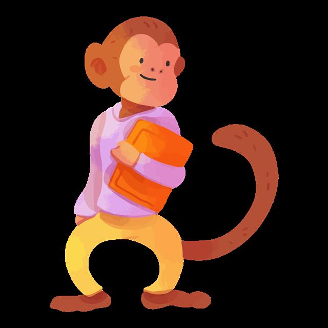 拿着书的校园动物猴子