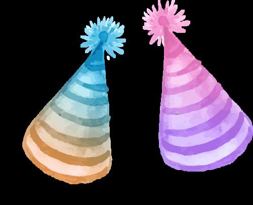 手绘彩色生日帽图片