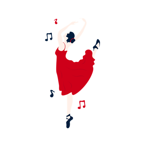 红裙子芭蕾舞女孩