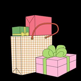手绘礼物袋礼物盒图片