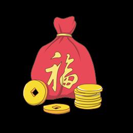 福袋金币卡通矢量图