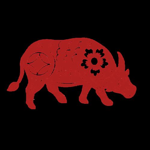 2021牛年红色剪纸图片