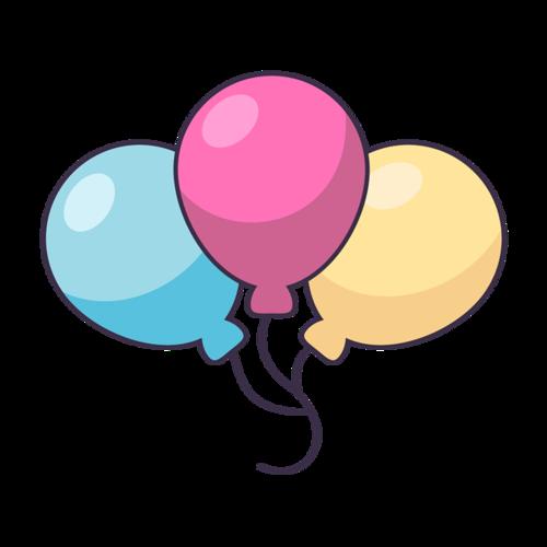 彩色气球手绘免扣图片