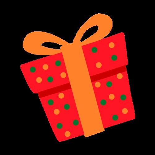 圣诞节手绘红色礼物盒