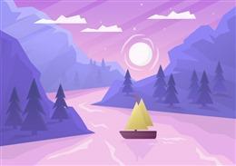 紫色山川插画