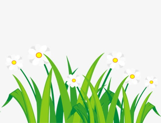 小花草丛卡通手绘