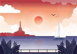 黄昏海面背景图