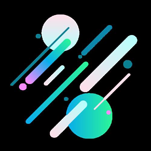 漂浮斜线彩球元素