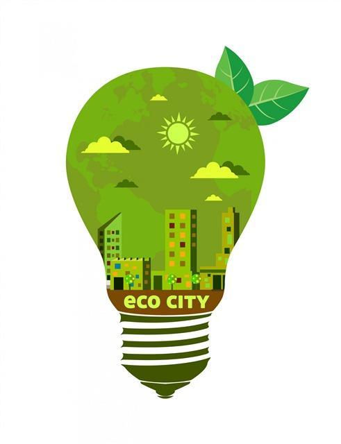 环保城市电灯矢量图