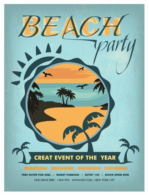 简约沙滩派对海报