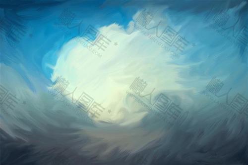 蓝天白云油画背景图