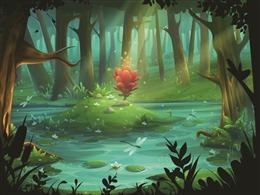 一缕阳光照进森林背景图