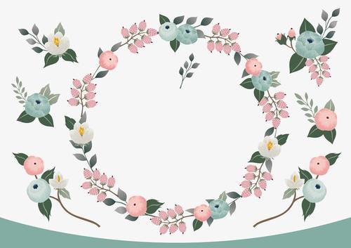 鲜花花环边框