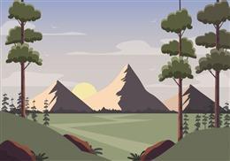 温暖日出田野背景图