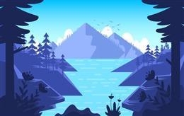 山水湖畔背景图