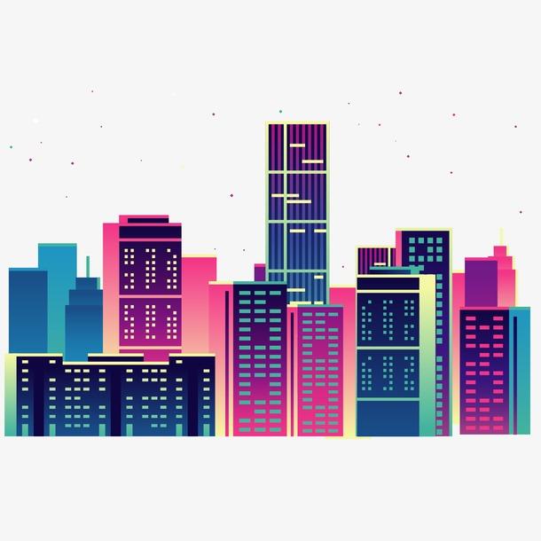 城市建筑风景剪影画