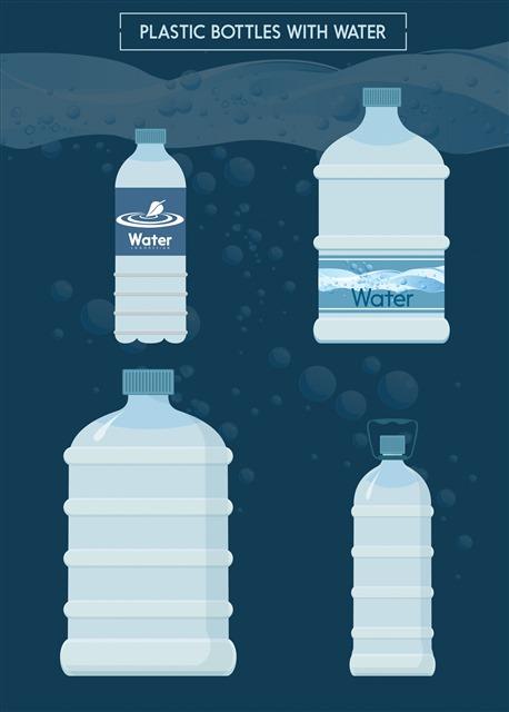 不同大小的水瓶包装