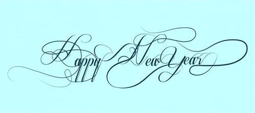 新年快乐英文花体字设计