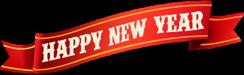 新年快乐红色横幅标签