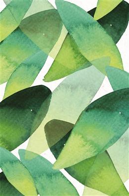 水彩手绘森系树叶背景