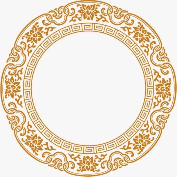 金色花纹圆形边框
