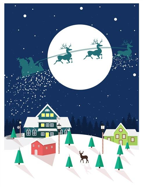 圣诞节夜晚卡通插画