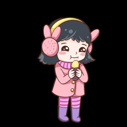 冬季吃红薯的女孩