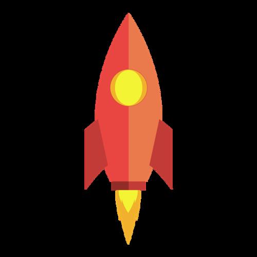 红色手绘火箭