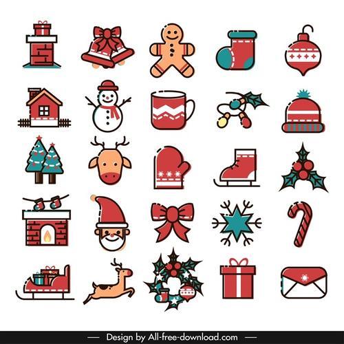 圣诞节红色卡通图标