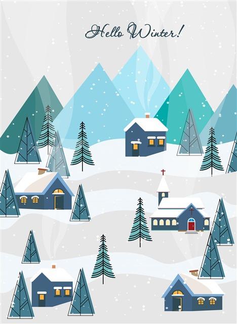 冬至下雪的村庄插画