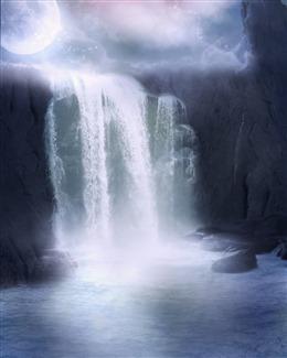 古风瀑布图片