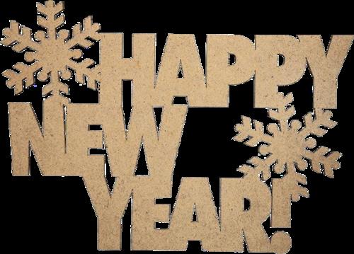 新年快乐金色雪花艺术字