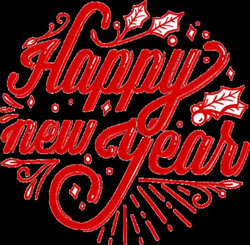 新年快乐红色英文logo