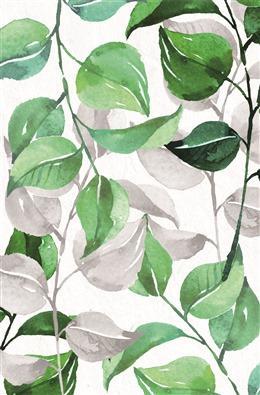 手绘小清新绿叶背景