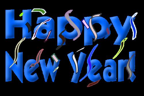 卡通蓝色2021新年快乐英文字体