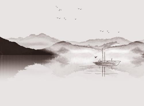 水墨剪影群山飞鸟