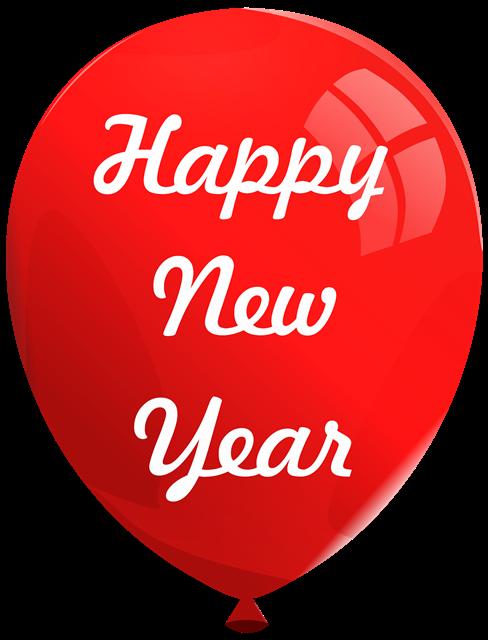 红色气球新年快乐装饰图片