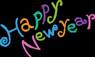 彩色手绘英文新年快乐字体设计