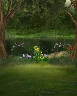 森林河畔图片