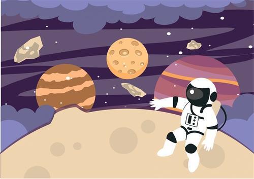 卡通宇宙宇航员矢量图片