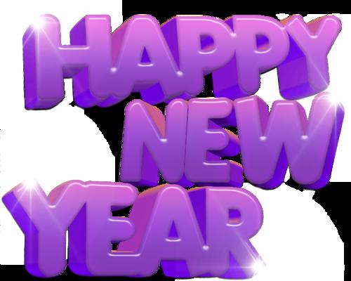 紫色立体新年快乐文字