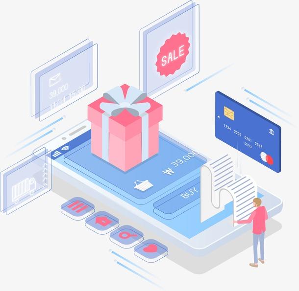 科技生活网上购物扁平立体插画