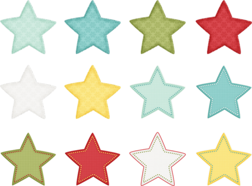 彩色矢量圣诞五角星
