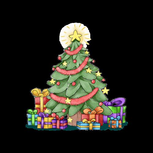 卡通圣诞树礼物贴纸
