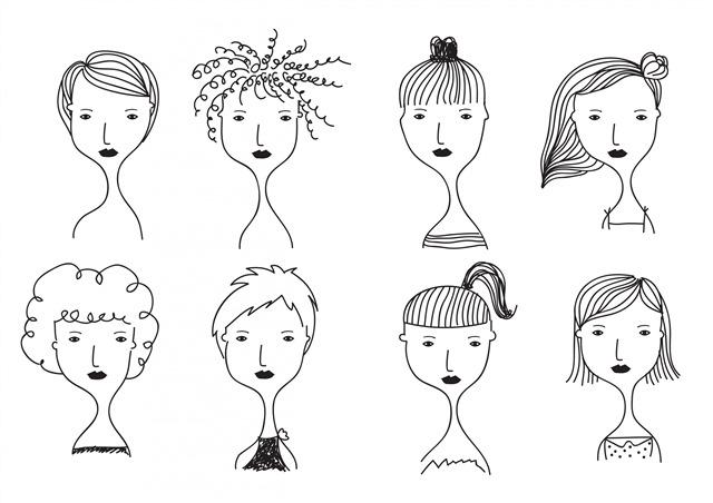 女孩人物涂鸦手绘头像