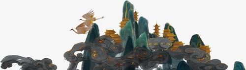 国潮山峰祥云国画