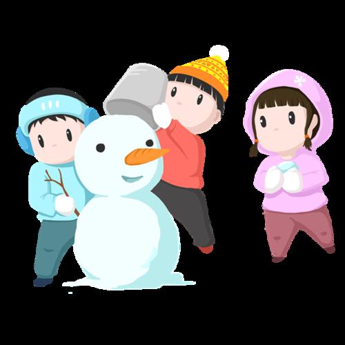 卡通堆雪人的儿童插画
